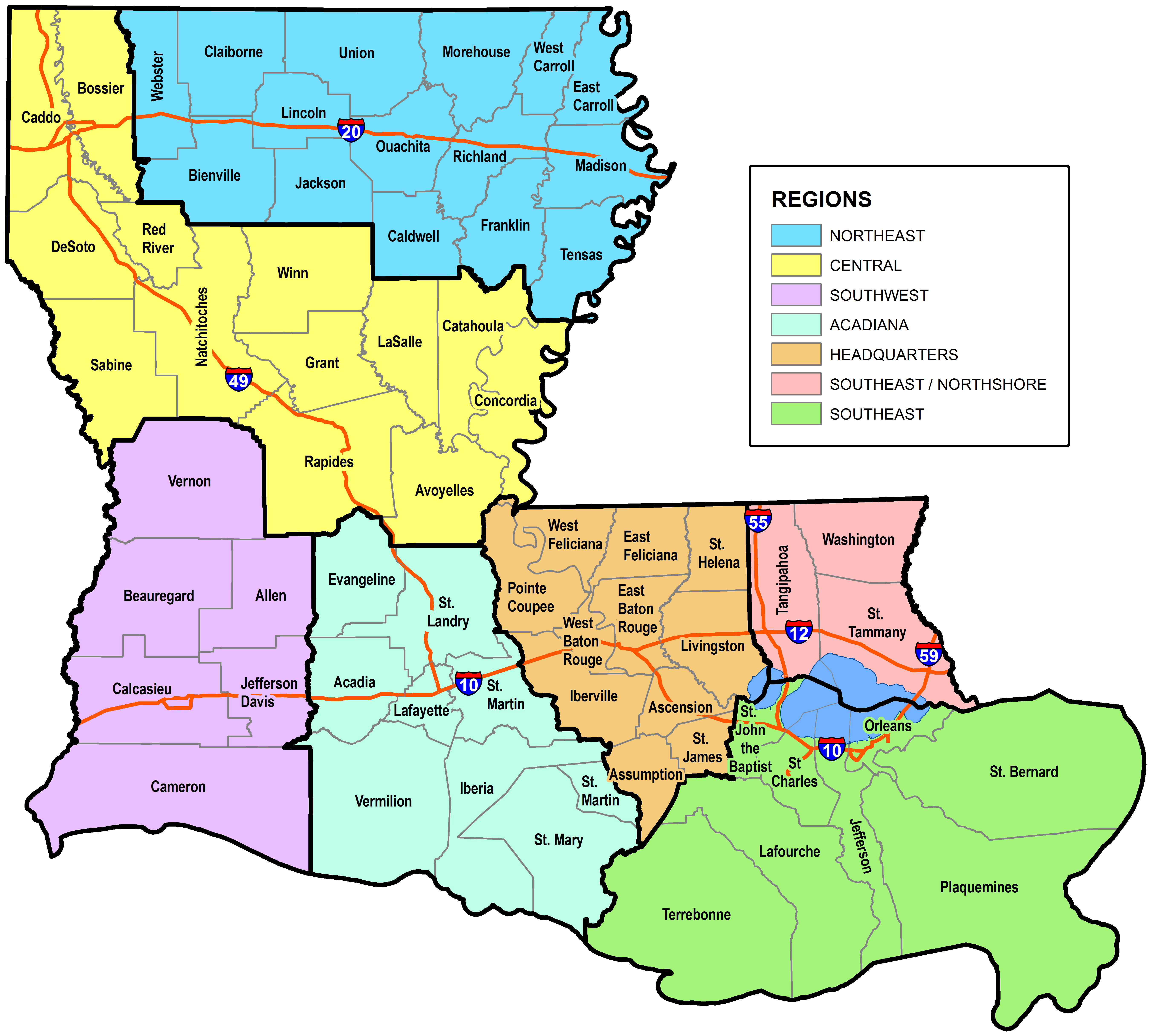 Small Business Parish Assignments Regional Contacts Louisiana